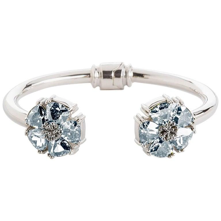 .925 Sterling Silver 10x7mm Light Blue Sapphire S/M Blossom Stone Hinge Bracelet