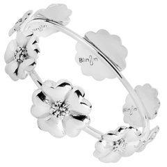 .925 Sterling Silver Blossom Graduated Bangle Bracelet