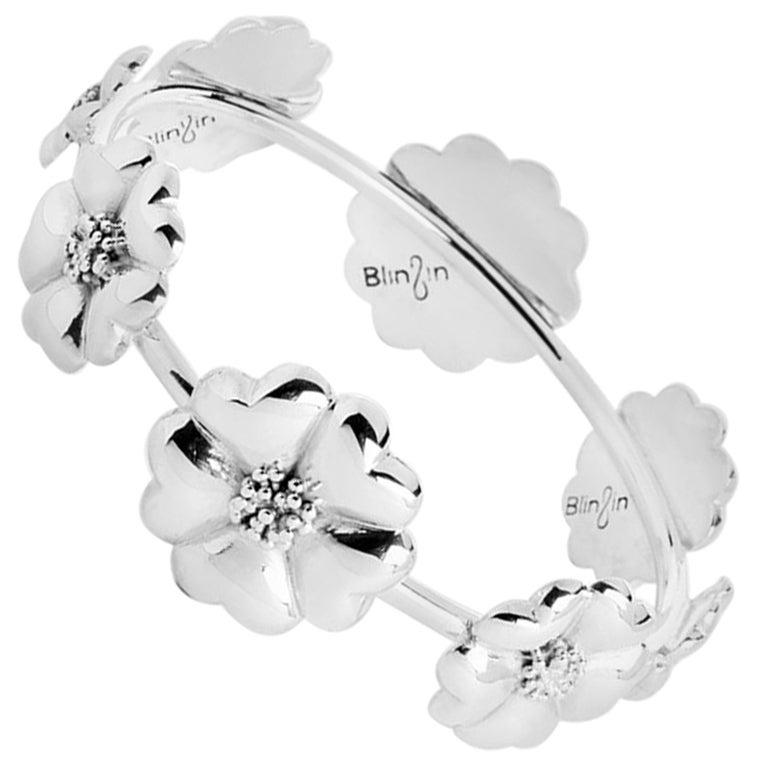 .925 Sterling Silver Blossom Graduated Bangle Bracelet