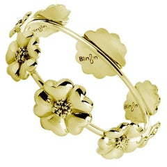 14k Yellow Gold Vermeil Blossom Graduated Bangle