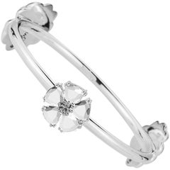 .925 Sterling Silver 5 x 7 mm White Sapphire Mixed Blossom Stone Bangle