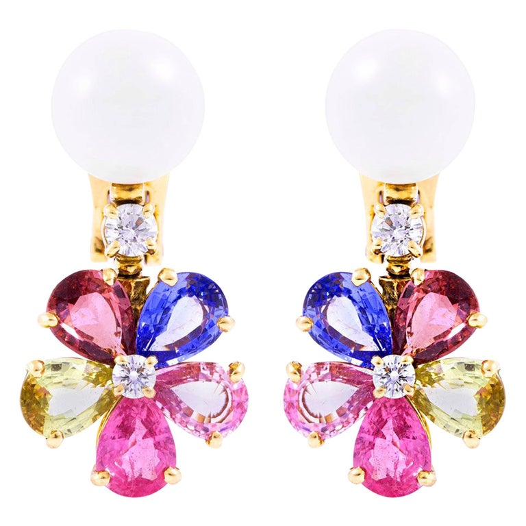 Bvlgari Pearl Multicolored Sapphire and Diamond Earrings
