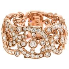 Diamond Lace Wide Rose Gold Band