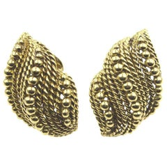 1970s David Webb 18 Karat Yellow Gold Textured Clip Earrings