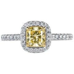 Mark Broumand 1.19 Carat Fancy Light Yellow Cushion Cut Diamond Engagement Ring