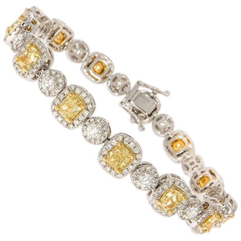 White and Canary Diamond Bracelet