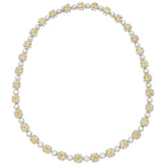 White and Canary Diamond Necklace