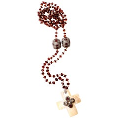 Clarissa Bronfman Garnet, Diamond, Ruby, and Mother-of-Pear Beaded Necklace