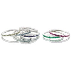 Stackable Birthstone Rings, Diamond, Rubies, Sapphires, Emeralds