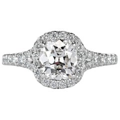 Mark Broumand 2.05 Carat Old Mine Cut Diamond Engagement Ring