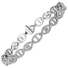 Mark Broumand 2.95ct Round Brilliant Cut Diamond Link Bracelet in 14k White Gold
