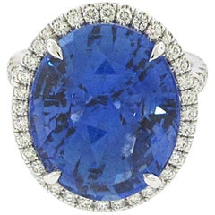 19.41 Carat Ceylon Heated Sapphire Ring, GIA Certified Sapphire