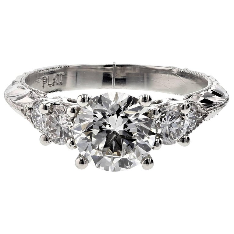 Seven-Stone Diamond Engagement Ring in Platinum (GIA Certified) For Sale