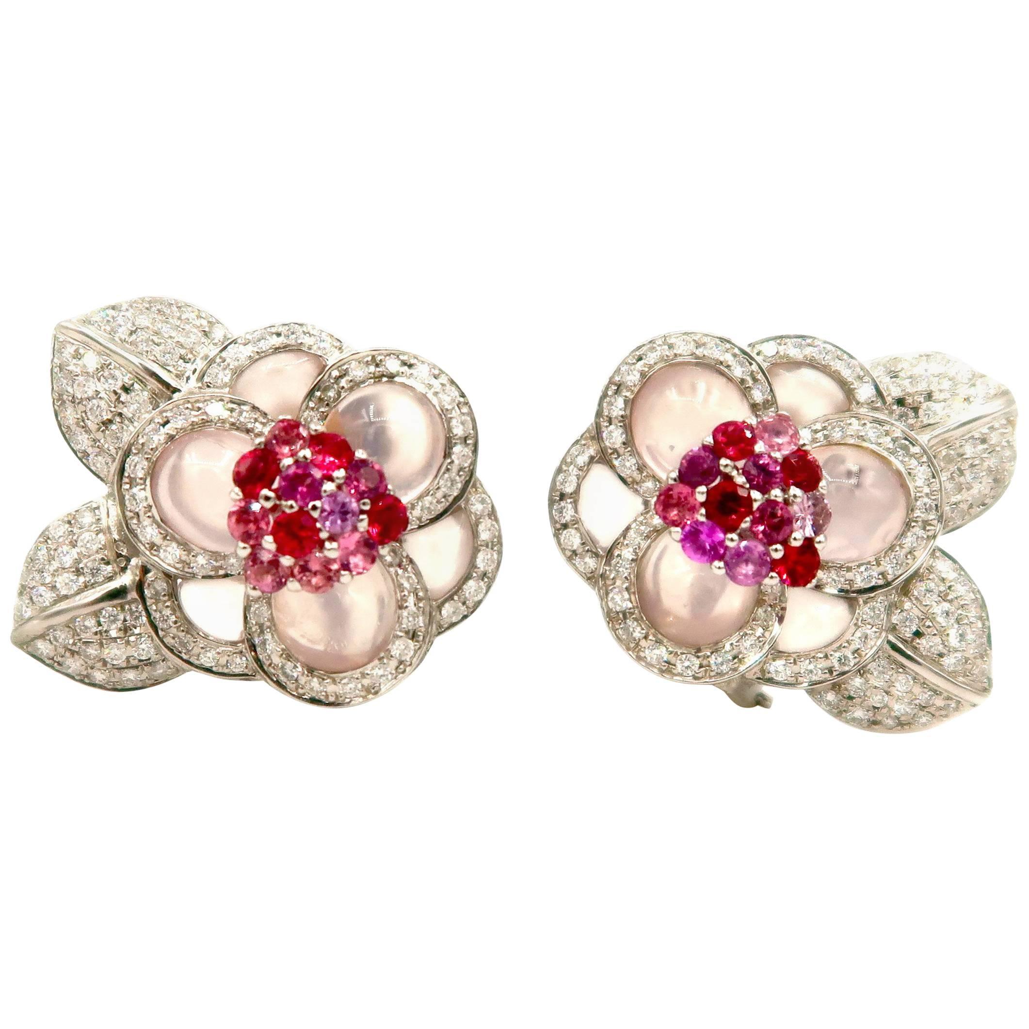 Flower Cabochon Rose Quartz Diamond Pink Sapphire Rhodolite Gold Clip Earrings