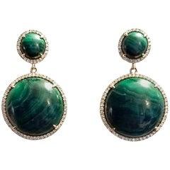 Green Malachite and Diamond Earrings