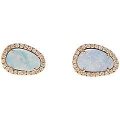 White Opal Slice and Diamond Earrings