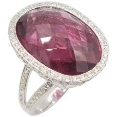17.93 Carat Pineapple Cut Rubellite Diamond Crown White Gold Ring