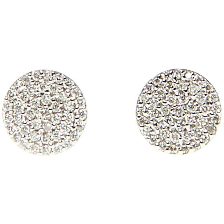 Pave Diamond Disc Stud Earrings For