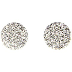 Pave Diamond Disc Stud Earrings