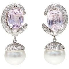 Kunzite, Diamond and Pearl Earrings
