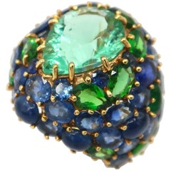 Total 23.37 Carat Fluorite Sapphire Tsavorite Gold Cluster Dome Cocktail Ring