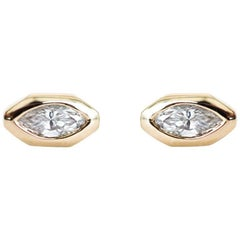 Marquise Diamond Octagon Stud Earrings
