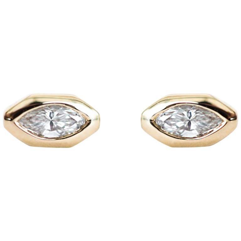 Marquise Diamond Octagon Stud Earrings For Sale
