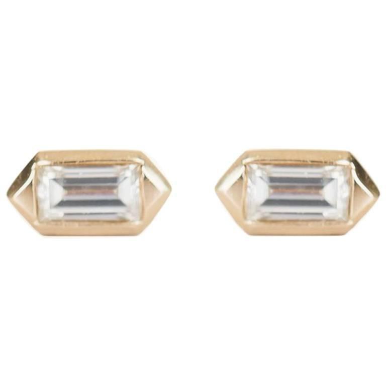 Diamond Baguette Hexagon Stud Earrings