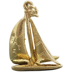 Vintage Catamaran Gold Charm, 1960s, Yellow Gold