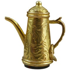 Antique Edwardian Coffee Pot Seal, Bloodstone, Yellow Gold, Hand Engraved