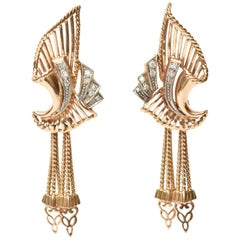 Stunning Pair of Retro 18 Karat Rose Gold and Diamond Dangle Pierced Earrings