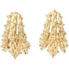 Stunning 18 Karat Gold Italian Textural Dimensional Pair of Pierced Earrings