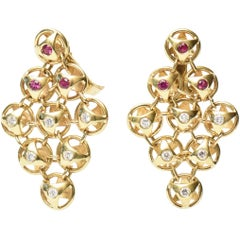 Pair of French 18K Gold, Ruby & Diamond Chandelier Lever Back Pierced Earrings