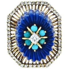 Unique Monumental, 1970s 14 Karat, Lapis Turquoise and Diamond Ring
