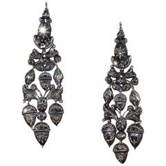 Georgian Girandole Diamond Earrings Acorn Motif