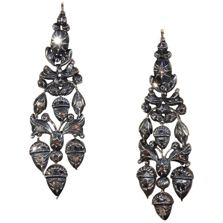 Georgian Girandole Diamond Earrings Acorn Motif