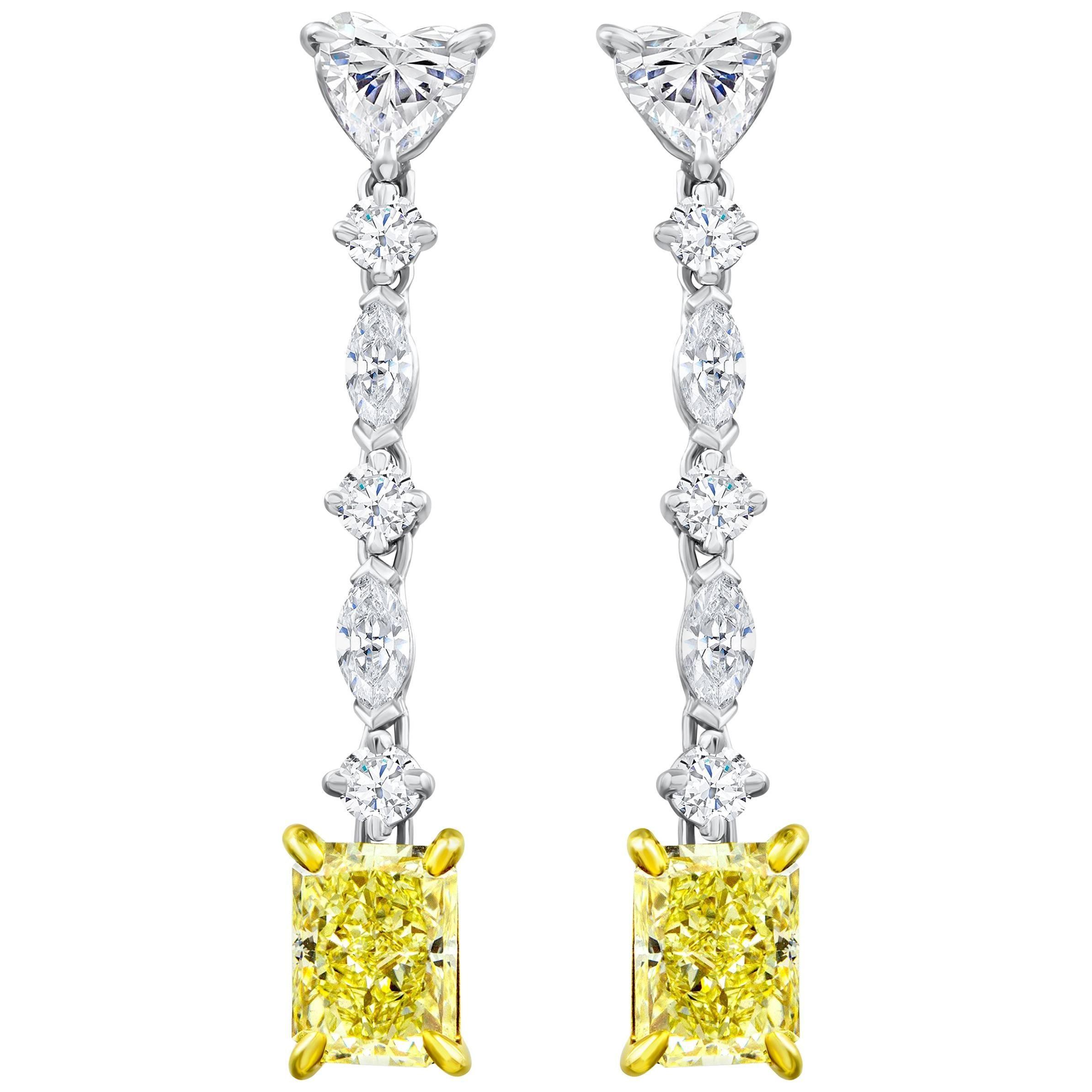 Fancy Yellow Radiant Cut Diamond Drop Earrings