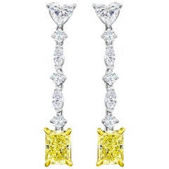 Fancy Yellow Radiant Cut Diamond Drop Earrings