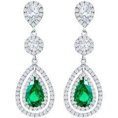 Pear Shaped Green Emerald and Diamond Double Halo Dangle Earrings