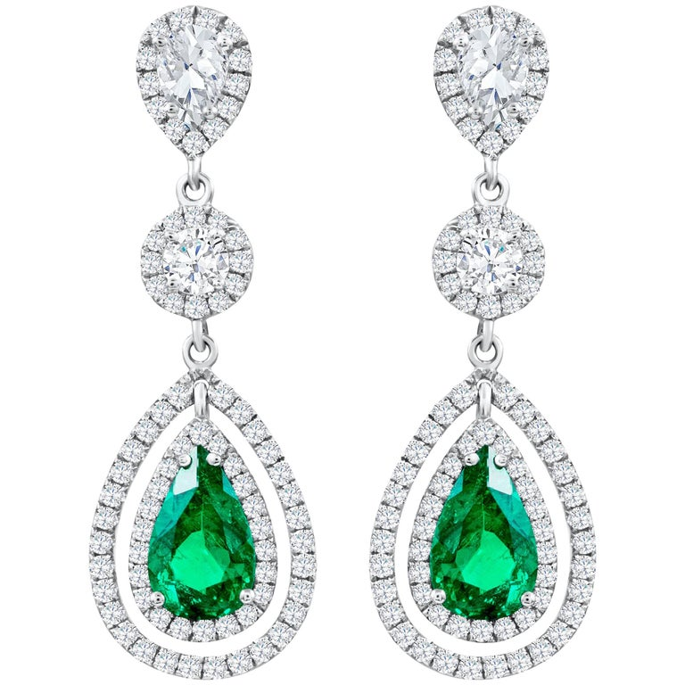 Pear Shaped Green Emerald and Diamond Double Halo Dangle Earrings
