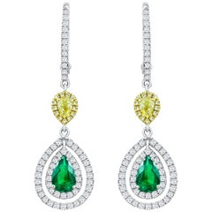Green Emerald and Diamond Double Halo Dangle Earrings