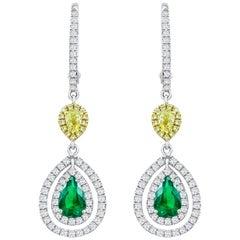 Roman Malakov, Green Emerald and Diamond Double Halo Dangle Earrings