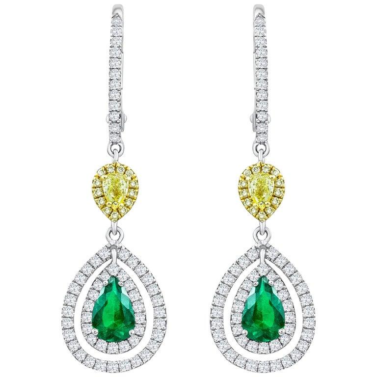Green Emerald and Diamond Double Halo Dangle Earrings