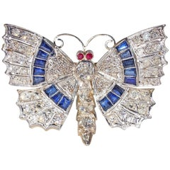 Art Deco Diamond Sapphire Ruby Butterfly Pin Pendant