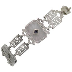 Art Deco Rock Crystal Gold Filigree Bracelet