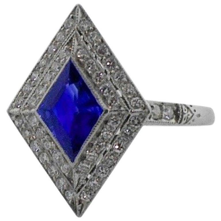 Diamond Lozenge Sapphire Ring