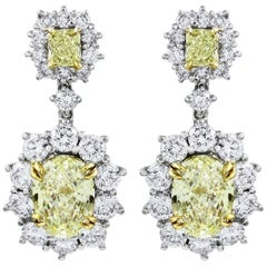 Fancy Yellow Diamond Halo Flower Dangle Earrings