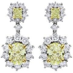 Fancy Yellow Diamond Halo Flower Dangle Earrings