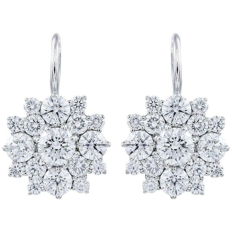 5.80 Carat Cluster Diamond Starburst Drop Earrings