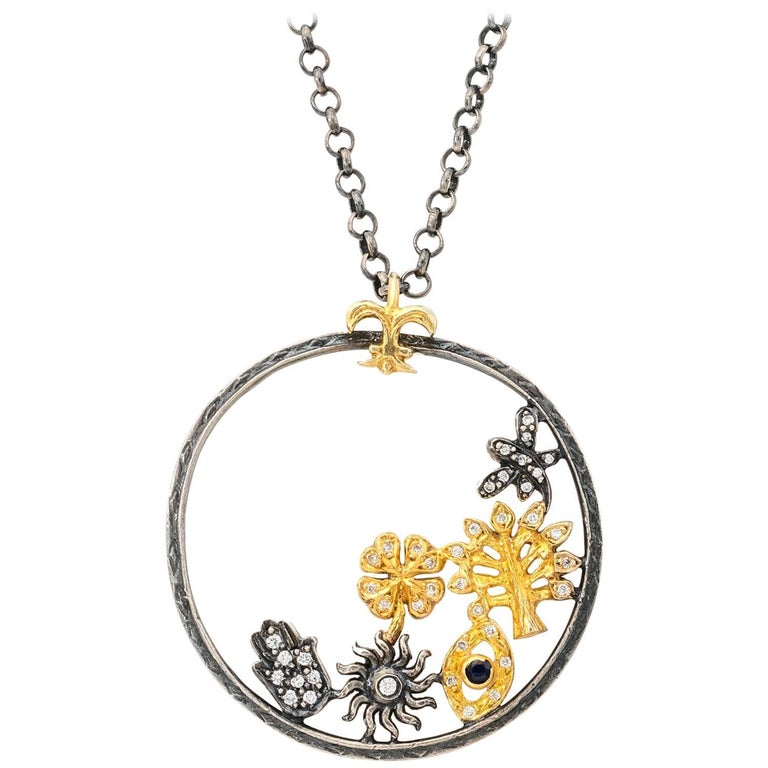 Whimsical Diamond and Gold Disc Pendant on Sterling OX Chain